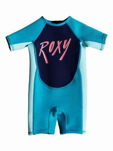 Pianka dziecięca Roxy Girl 1.5 mm SYNCRO Short Sleeve Back Zip Springsuit kolor AQUA/GLICER BLUE