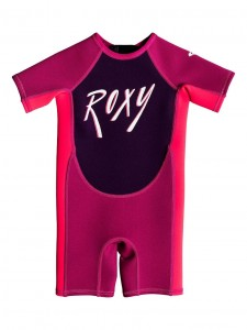 Pianka dziecięca Roxy Girl 1.5 mm SYNCRO Short Sleeve Back Zip Springsuit kolor MAGENTA/VERMILLON