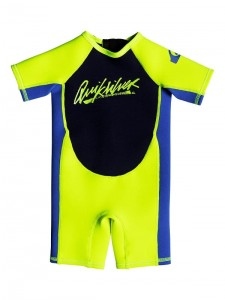 Pianka dziecięca Quiksilver Boy's 2-7 1.5 mm SYNCRO Short Sleeve Back Zip Springsuit kolor YELLOW / BLUE RIBBON