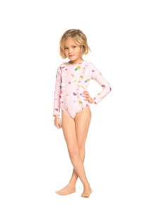 Lycra Rashguards Roxy Girls 2-7 LOVELY ALOHA Long Sleeve Zipped UPF 50 One-Piece